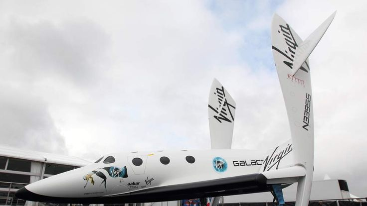 the Virgin Galactic Space craft at the Farnborough International Airshow