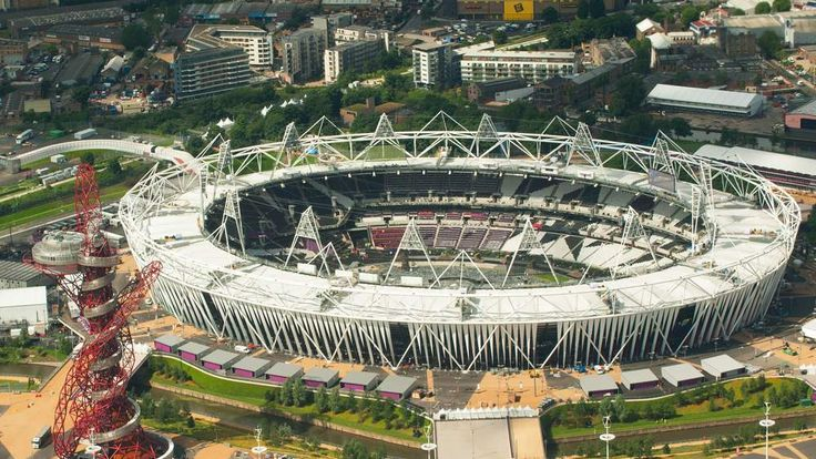Aerial view of the Olympic Park, in Stratford, east London, showing the Olympic Stadium and the ArcelorMittal Orbit.