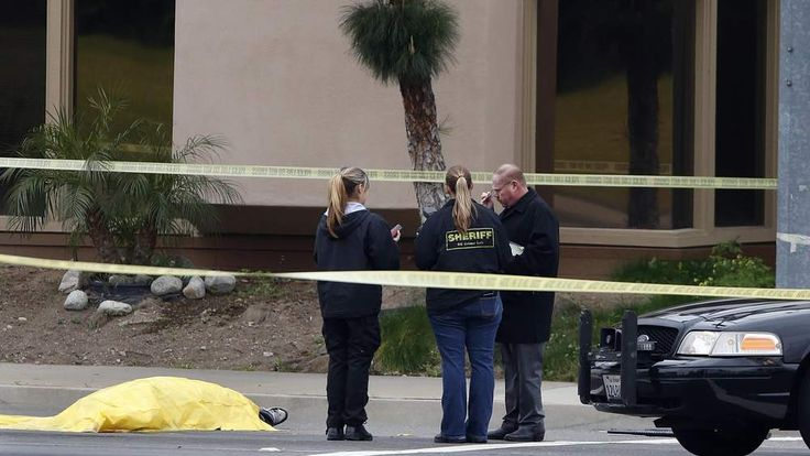 Emergency services at the scene of a shooting in California