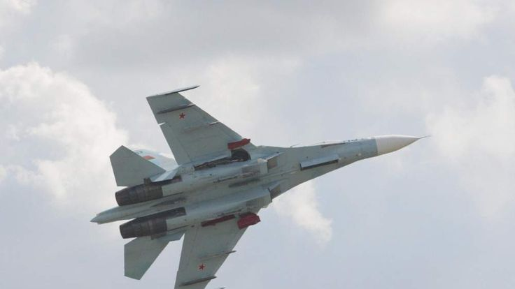 Long lens view of the SU-27 fighter plan