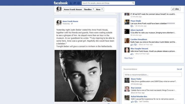 The Anne Frank House facebook post