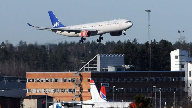 Scandinavian Airlines (SAS) flight from the US, the second plane to land at Arlanda Airport, Stockholm comes in to land
