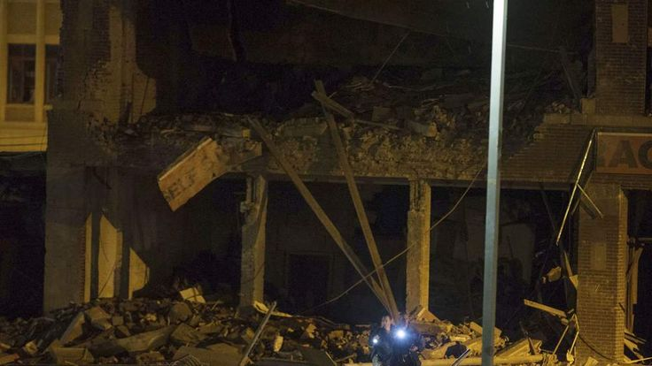 A building destroyed by a gas explosion in Springfield, Massachusetts