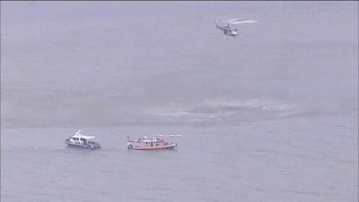 The scene after the helicopter came down in Hudson River