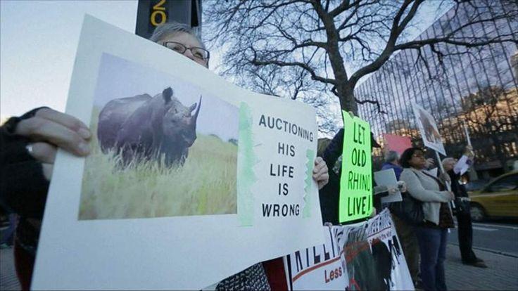 Protest in Dallas against black rhino hunt
