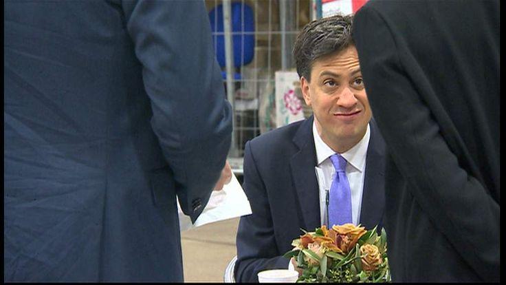 Ed Miliband eats a bacon sandwich