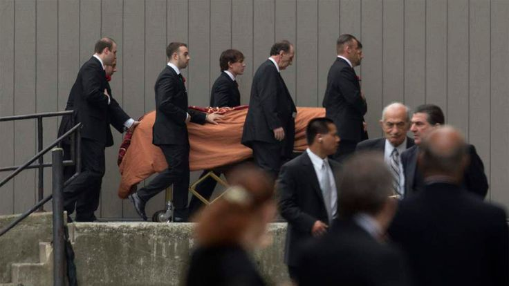 Casket of actor Gandolfini is escorted into Cathedral Church of Saint John the Divine for funeral services in New York