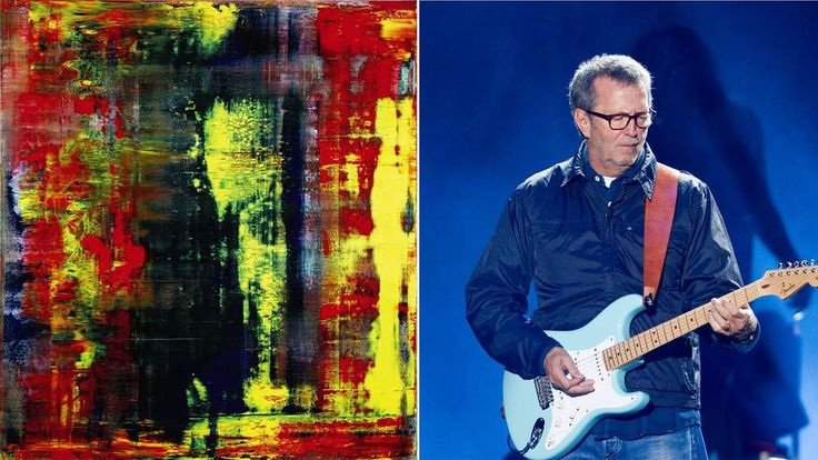 Gerhard Richter painting 'Abstraktes Bild' and Eric Clapton