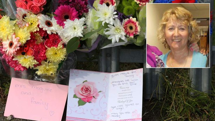 Composite image of flowers at the scene in Leeds and Anne Maguire