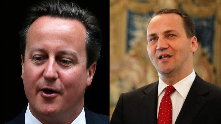 Composite image of David Cameron and Polish Foreign Minister Radoslaw Sikorski