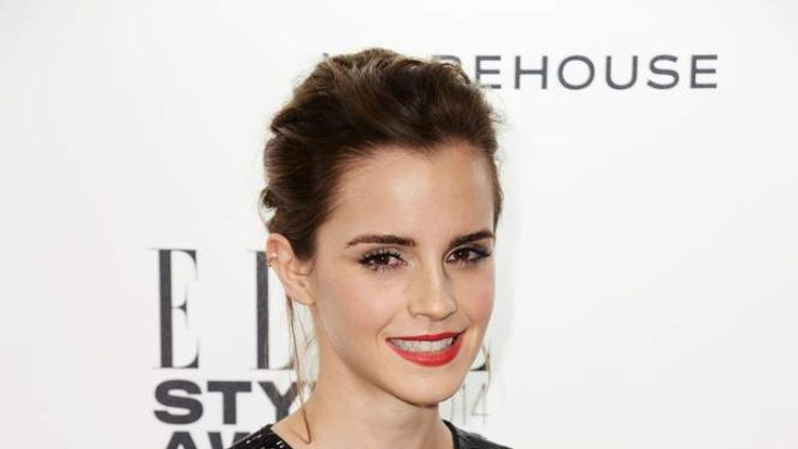 Emma Watson poses in the winners room at the Elle Style Awards 2014