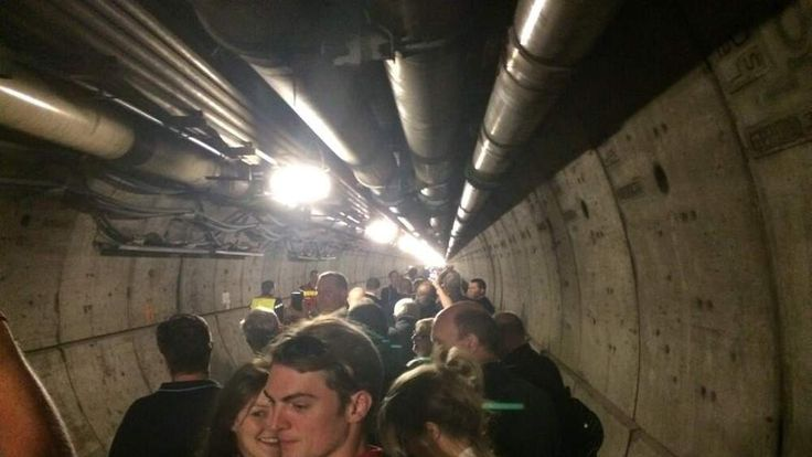 Evacuated passengers in Eurotunnel. Pic: Richard Byrom