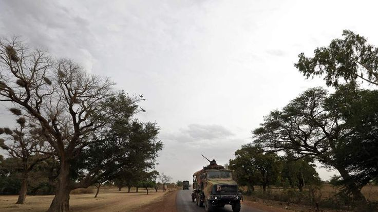 A convoy of French military vehicles heads toward Sevare