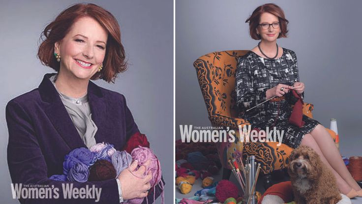 The Prime Minister, Julia Gillard, with her pet dog Reuben by her side, knits a toy for the new royal baby. Courtesy: The Australian Women's Weekly/Grant Matthews