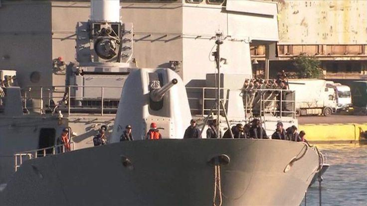 The Salamis docks, bringing dozens of evacuees from conflict-ridden Libya