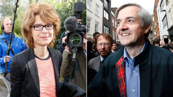 Chris Huhne and Vicky Pryce after leaving prison
