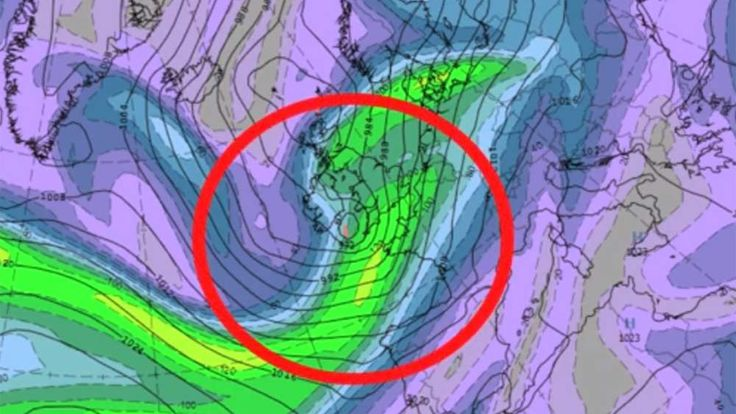 Forecast of the storm over Britain