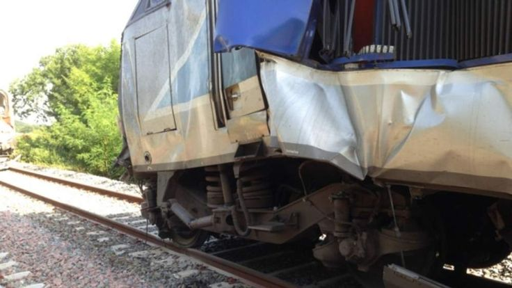 The damage sustained to a french TGV train. Pic: SNCF