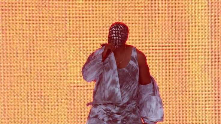 Kanye West performing on the Main Stage in Finsbury Park