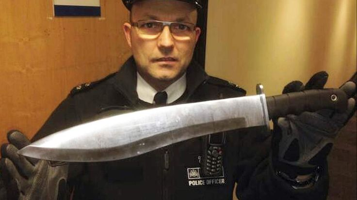 A knife recovered by a Met Police officer