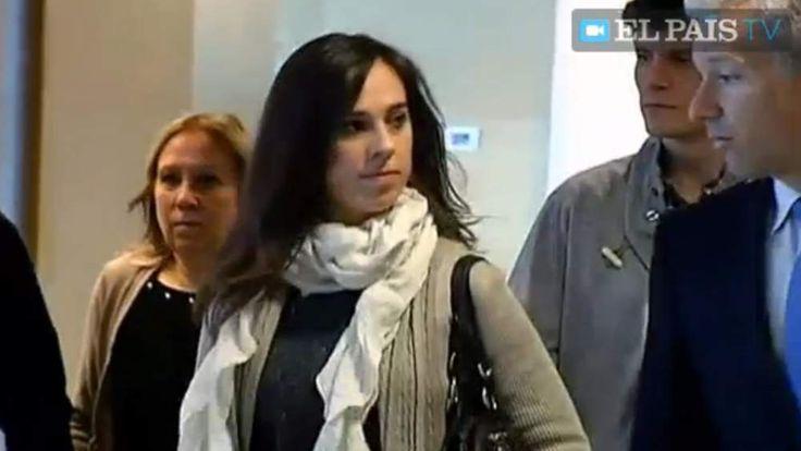 Spanish pianist Laia Martin arrives in court. Pic: El Pais TV