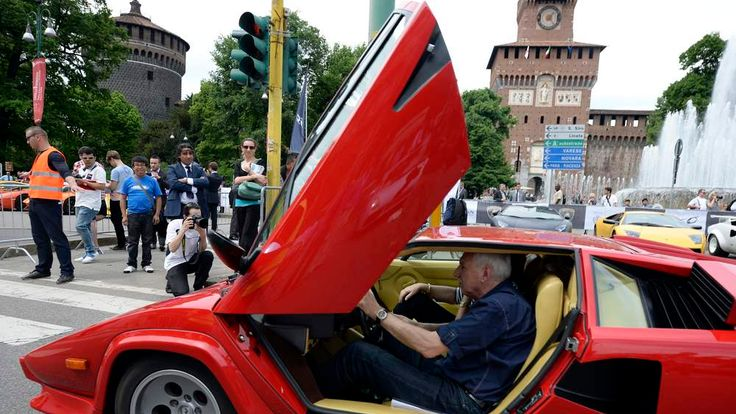 Lamborghinis of all ages on show in Milan for the 50th anniversary Grand Tour.