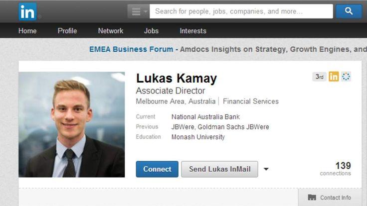 The Linkedin profile on Lukas Kamay