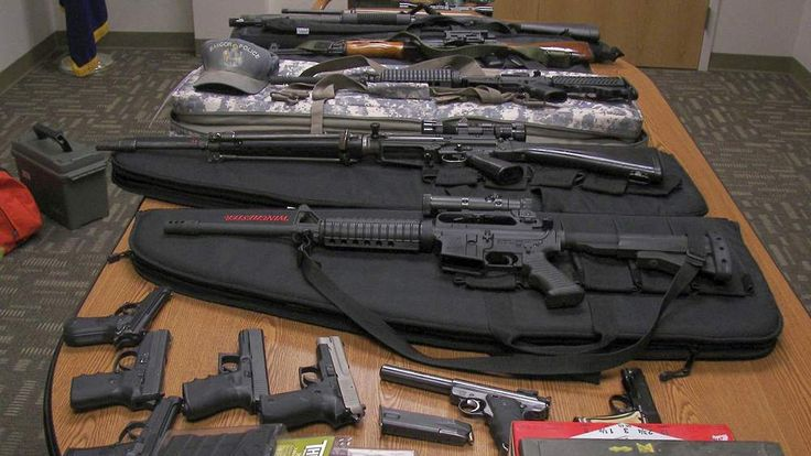 Weapons gathered from the home and vehicle of Timothy Courtois