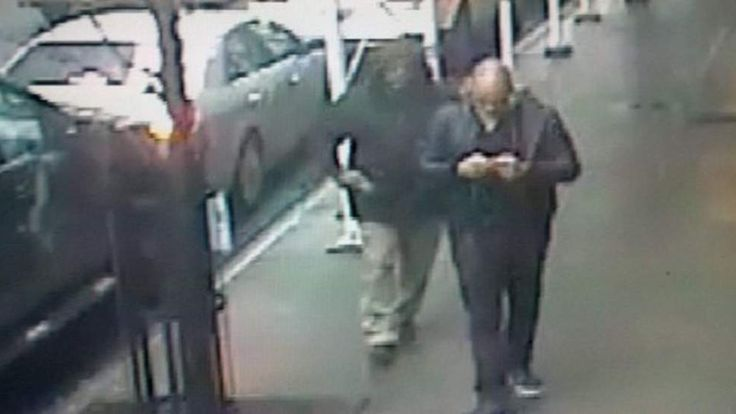 The gunman was caught on CCTV walking up behind Mr Woodward (pic: NYPD)