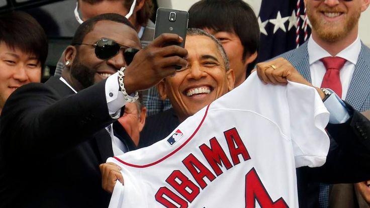 President Barack Obama in selfie with David Ortiz