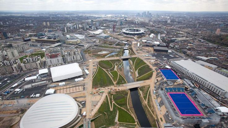 Aerial shot of Olympic Park, Stratford