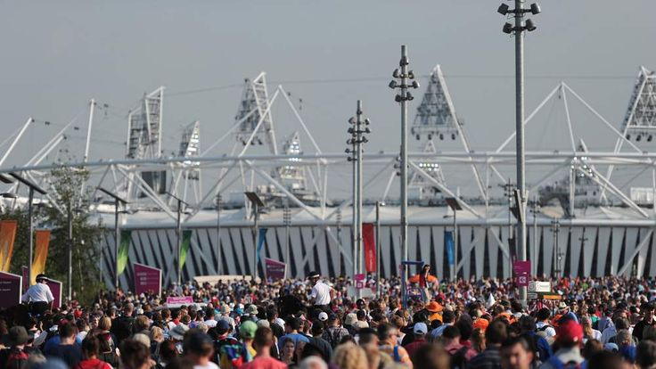 Spectators walking to and from the Olympic stadium during London 2012