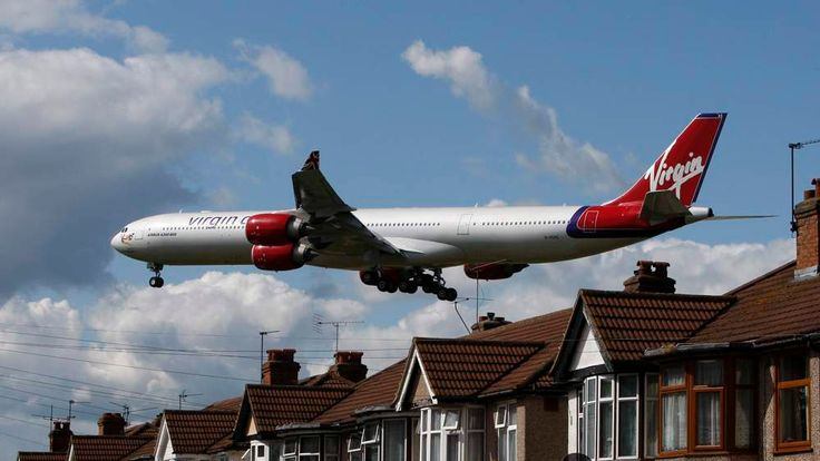 A Virgin Atlantic airline aircraft comes in to land at Heathrow Airport in London