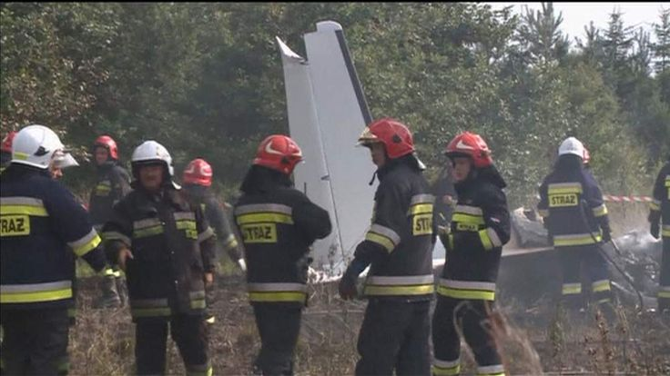 A scene from the plane crash in Poland that killed 11 parachutists