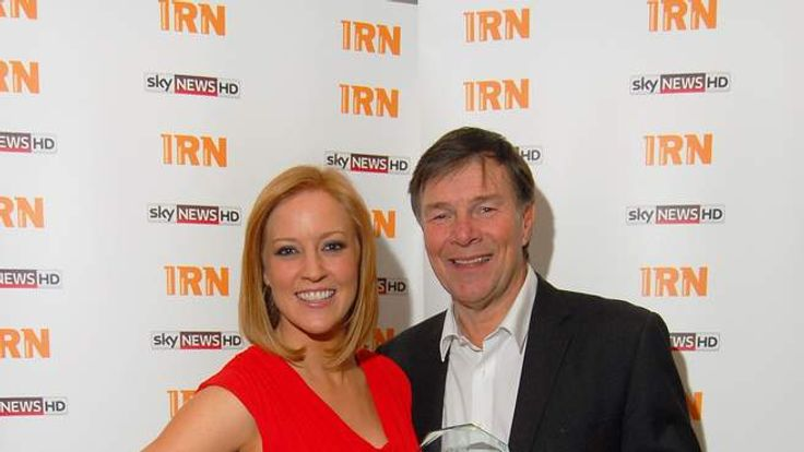 Richard Park, co-founder of Global Radio, receives his IRN Award from Sky's Sarah-Jane Mee