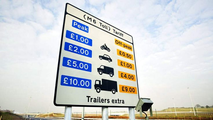 CHARGES FOR THE NEW M6 TOLL MOTORWAY NEAR BIRMINGHAM.