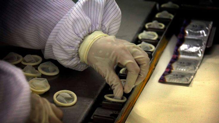 Condoms in factory