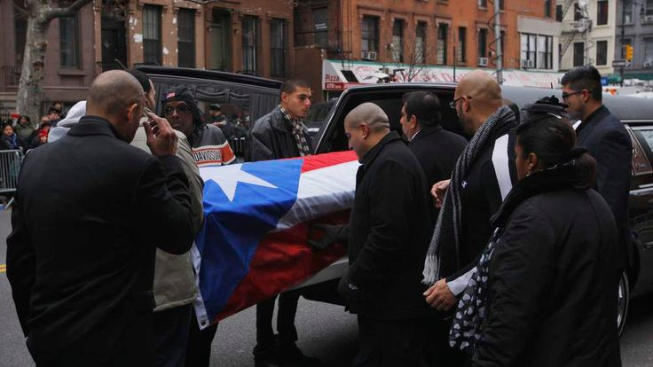 Coffin of Hector Camacho carried into St Cecilia's church in New York
