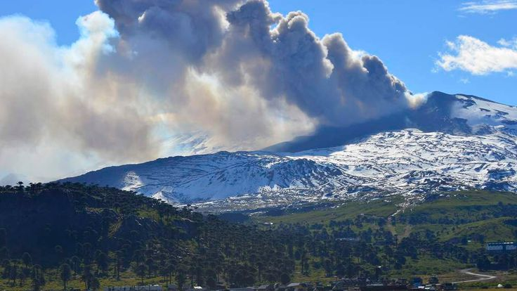 Smoke and ash rising from the Copahue volcano