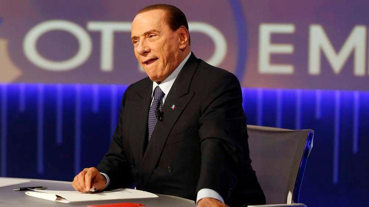 """Former Italian Prime Minister Silvio Berlusconi sits before the taping of the talk show """"Otto e mezzo"""" (Eight and a half) at La7 television in Rome"""