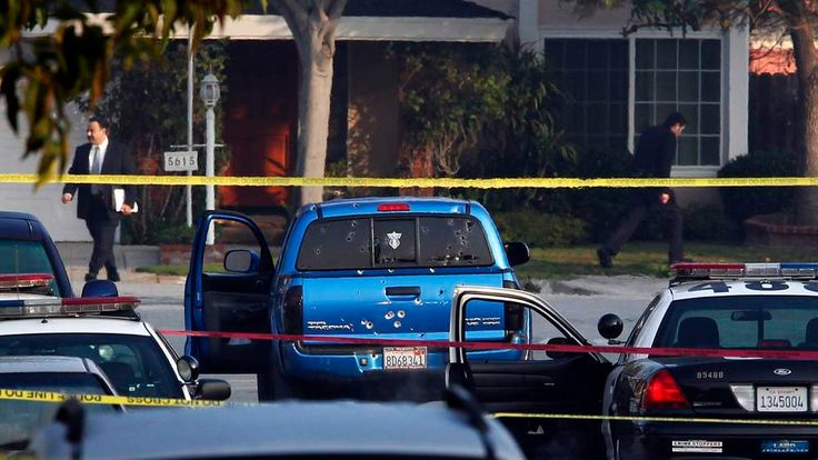 Police detectives investigate a shooting incident involving a truck in Torrance