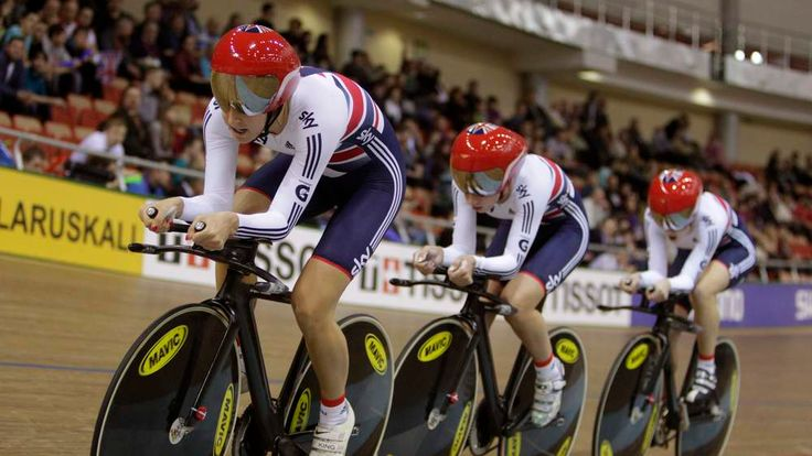 Britain's Laura Trott, Dani King and Elinor Barker compete during women's team pursuit final at the 2013 UCI Track Cycling World Championships in Minsk