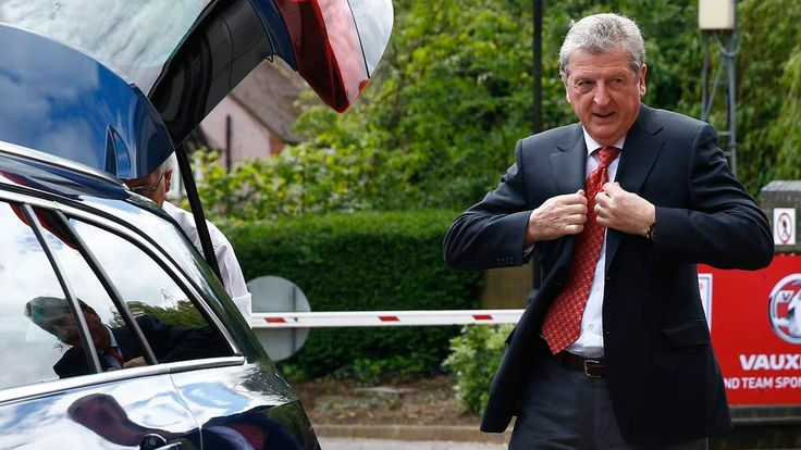 England soccer manager Roy Hodgson arrives to announce his squad for the 2014 World Cup in Brazil, at a news conference in Luton