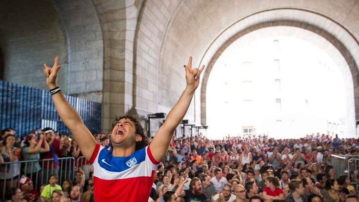 A U.S. soccer fan reacts while watching the 2014 World Cup match between Germany and the U.S. in New York