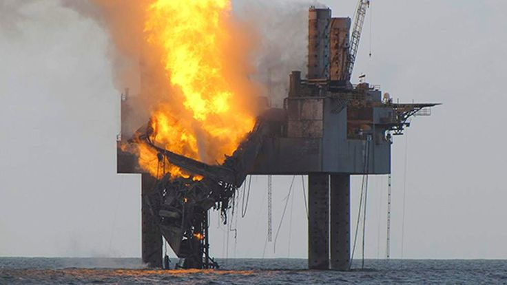 U.S. Coast Guard photo released by the BSEE shows Hercules 265 rig fire