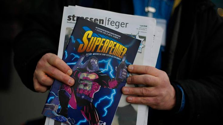 """The """"Superhobo"""" comic which is on sale in Berlin."""