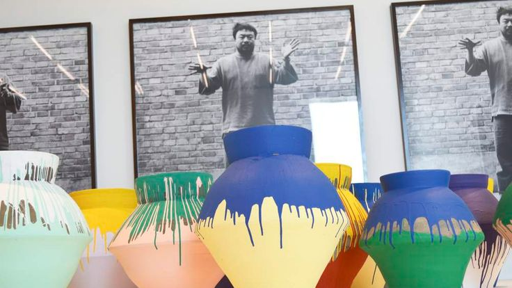 """Chinese artist Ai Weiwei's """"Colored Vases"""" are shown at the Perez Art Museum Miami"""