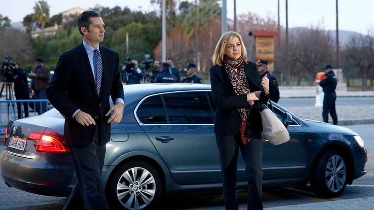 Spain's Princess Cristina, the first member of the royal family ever to stand in the dock, and husband Inaki Urdangarin arrive to court to appear on charges of tax fraud in Palma de Mallorca