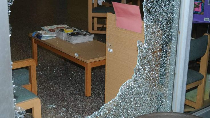 glass in lobby shattered where Lanza shot his way into school