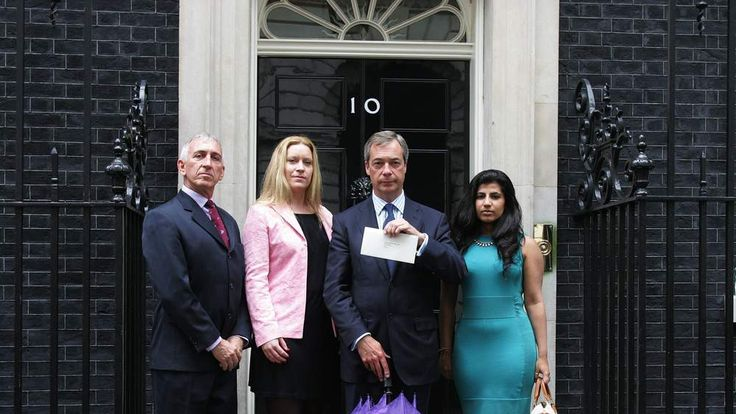 UKIP leader Nigel Farage calling for debate on EU referendum, 10 Downing Street, London, Britain - 16 Jul 2012